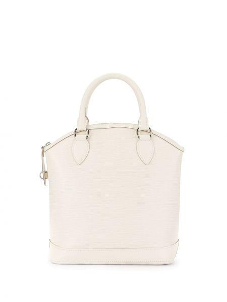 Белая сумка-тоут круглая на молнии винтажная Louis Vuitton