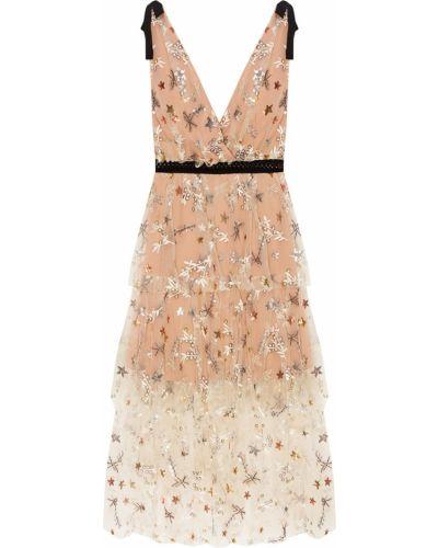 Коктейльное платье с цветочным принтом сетчатое Self-portrait