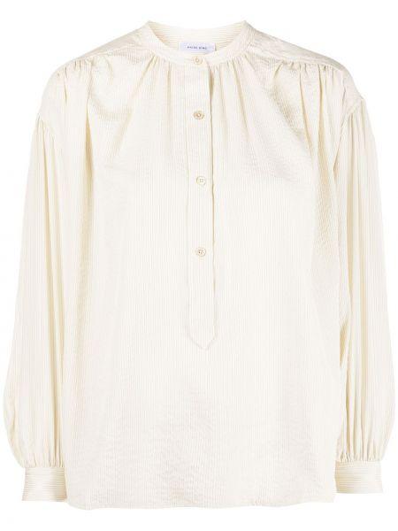 Шелковая блузка с оборками с воротником с манжетами Anine Bing