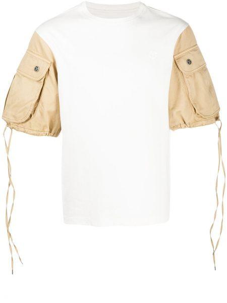 Хлопковая белая футболка с круглым вырезом с карманами Telfar