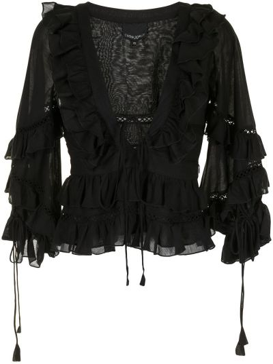 Czarna bluzka z dekoltem w serek Cynthia Rowley