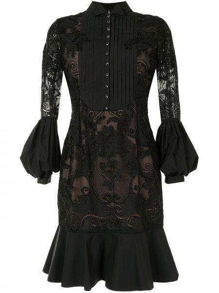 Плиссированное кружевное черное платье миди Marchesa