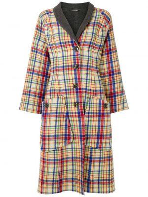 Шерстяное пальто классическое оверсайз в клетку à La Garçonne