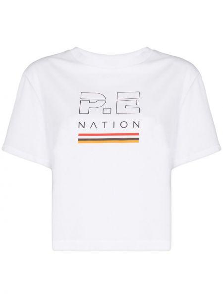 Biały t-shirt bawełniany z printem P.e Nation