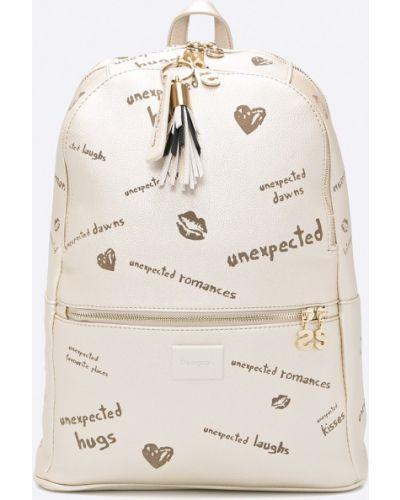 Кожаный рюкзак бежевый с подкладкой Desigual