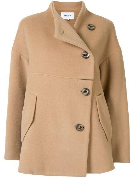Z rękawami brązowy bawełna bawełna długa kurtka Enfold