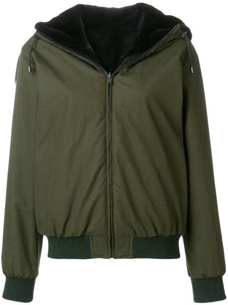 Городская куртка с капюшоном мятная двусторонняя с манжетами Holland & Holland