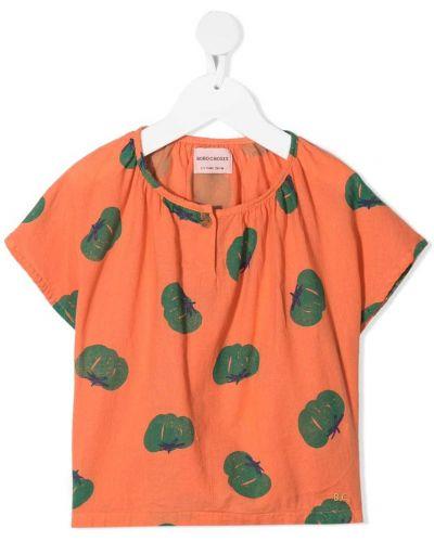 Оранжевая блузка с короткими рукавами с вырезом Bobo Choses
