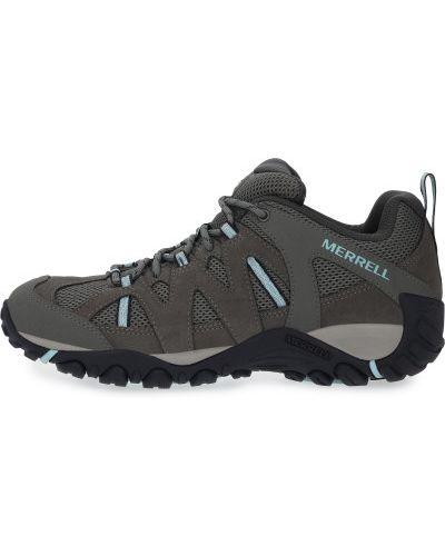 Серые кожаные полуботинки на шнуровке Merrell