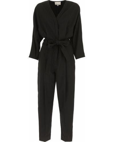 Czarna sukienka wieczorowa z długimi rękawami zapinane na guziki 1. Phillip Lim