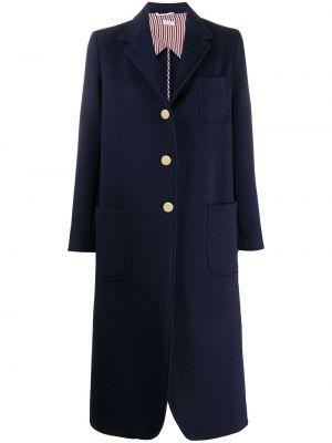 Синее длинное пальто милитари на пуговицах с лацканами Thom Browne