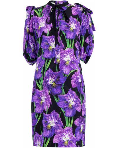 Платье с цветочным принтом с бантом Gucci