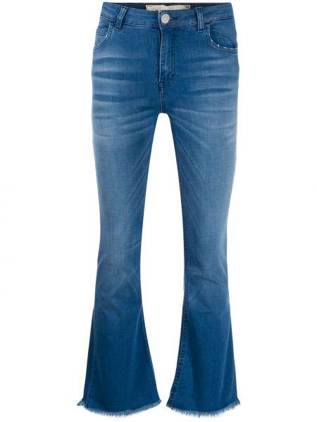 Укороченные джинсы расклешенные синие Haikure