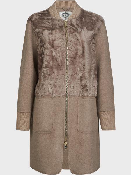 Коричневое шерстяное пальто на молнии Diego M