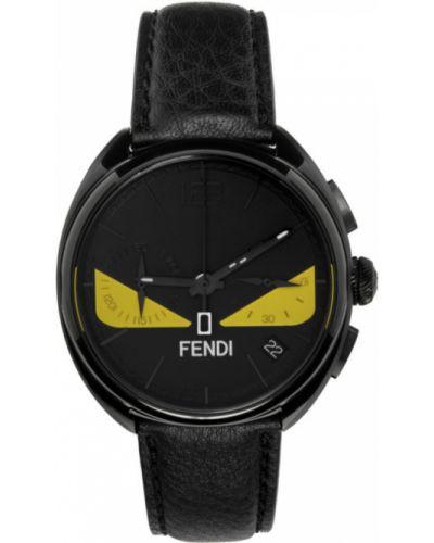 Czarny zegarek kwarcowy srebrny kwarc Fendi