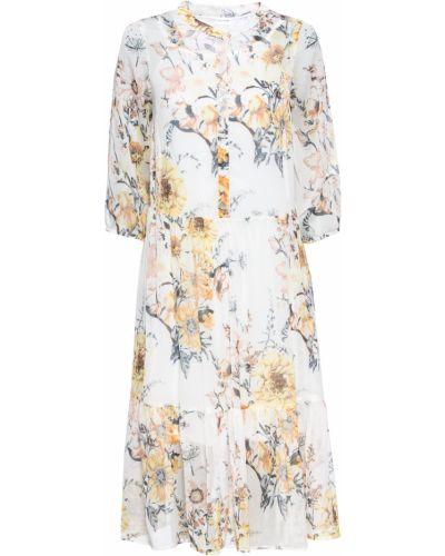 Шифоновое белое платье с оборками Bonprix