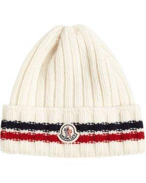 Шерстяная бежевая шапка с аппликациями Moncler