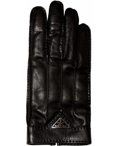 Черные кожаные перчатки Prada