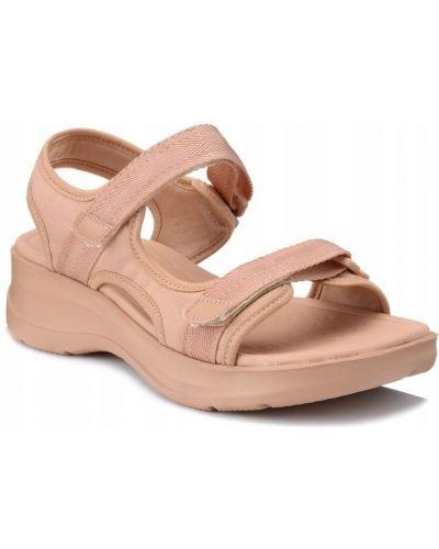 Różowe sandały na rzepy materiałowe Azaleia