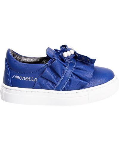 Слипоны синий с логотипом Simonetta Mini