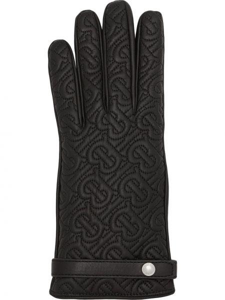 Стеганые черные перчатки Burberry