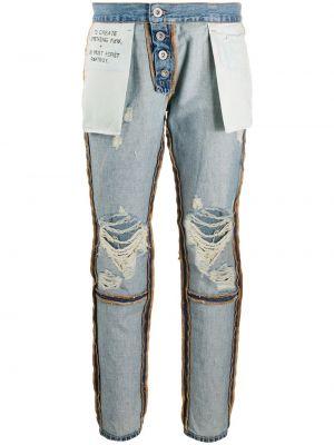 Хлопковые синие джинсы-скинни с надписью на пуговицах Unravel Project