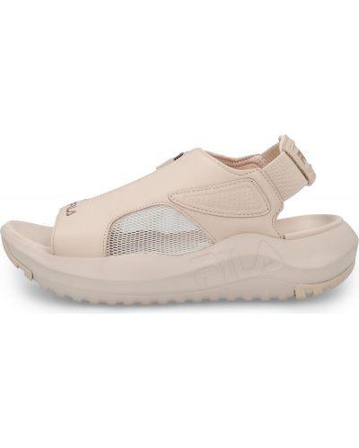 Кожаные бежевые сандалии на молнии Fila