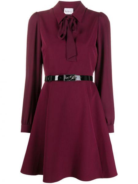 Фиолетовое платье макси с длинными рукавами с V-образным вырезом до середины колена Blumarine
