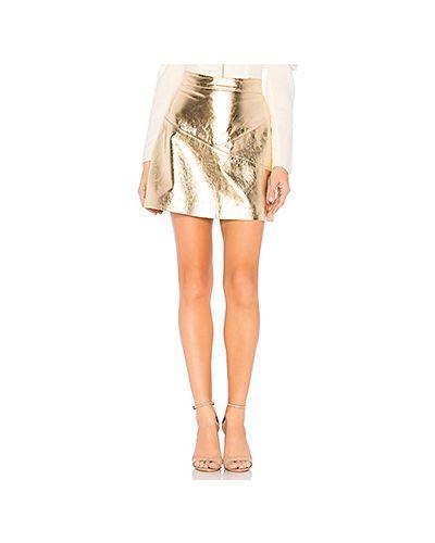 Кожаная юбка с молнией сзади золотой Nbd