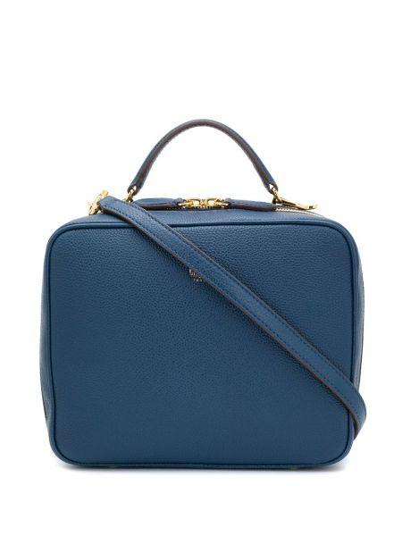 Синяя сумка-тоут на молнии с карманами на бретелях Mark Cross