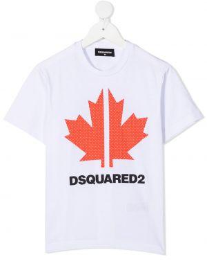 Хлопковая прямая белая футболка Dsquared2 Kids
