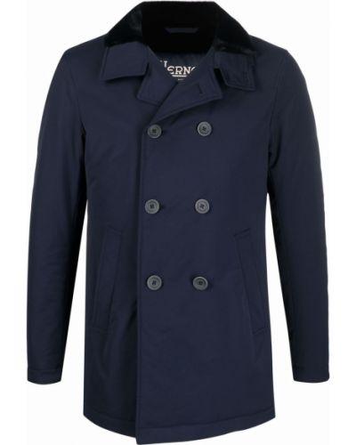 Синее пальто двубортное Herno