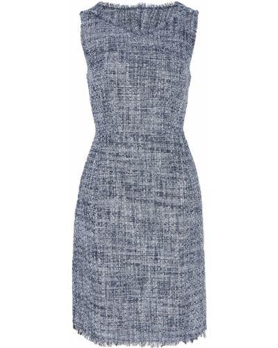 Приталенное синее платье миди без рукавов Adolfo Dominguez