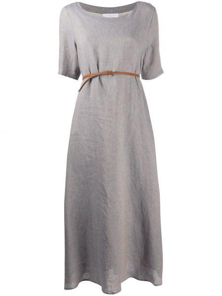 Серое льняное платье макси с поясом Fabiana Filippi