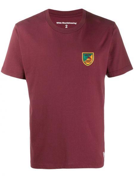 Koszula krótkie z krótkim rękawem z haftem burgundia White Mountaineering