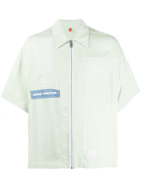 Zielona klasyczna koszula bawełniana z haftem Heron Preston