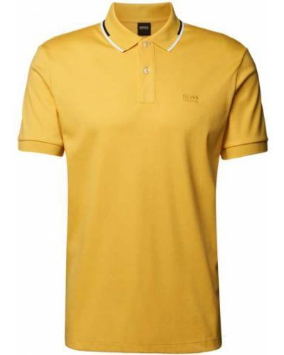 Żółty t-shirt bawełniany z paskiem Boss