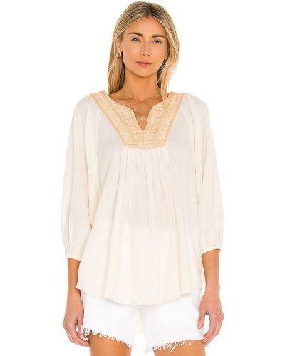 Бежевая шелковая блузка с вышивкой Mes Demoiselles