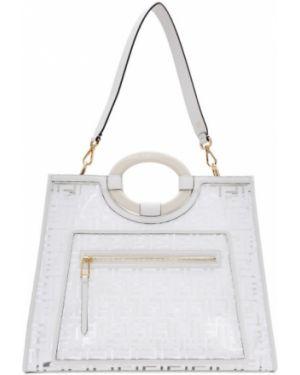Z paskiem akryl biały torba na zakupy Fendi