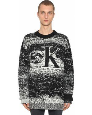 Prążkowany biały z kaszmiru sweter Calvin Klein Established 1978