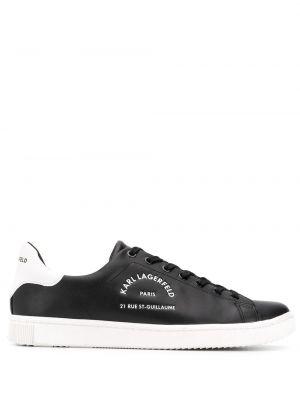 Кожаные черные кроссовки на каблуке на шнуровке Karl Lagerfeld