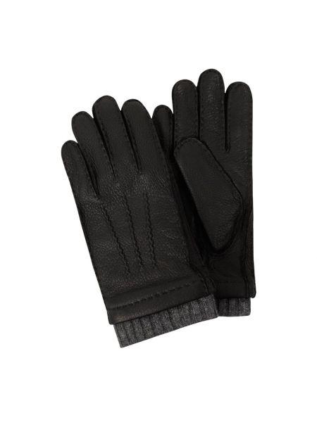 Rękawiczki skorzane - brązowe Eem-fashion