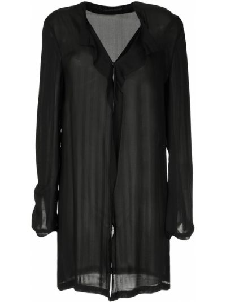 Черная рубашка винтажная свободного кроя прозрачная Yohji Yamamoto Pre-owned