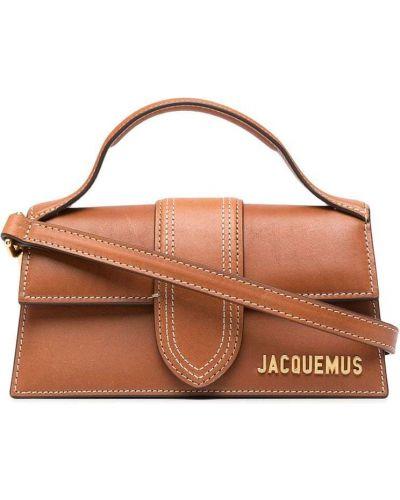 Золотистая коричневая кожаная сумка-тоут Jacquemus