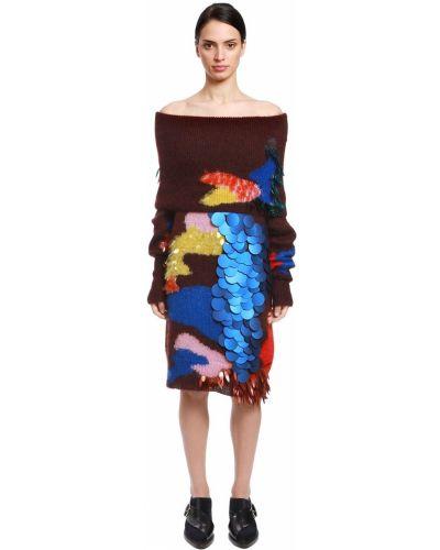 Sukienka długa z cekinami z długimi rękawami z jedwabiu Delpozo