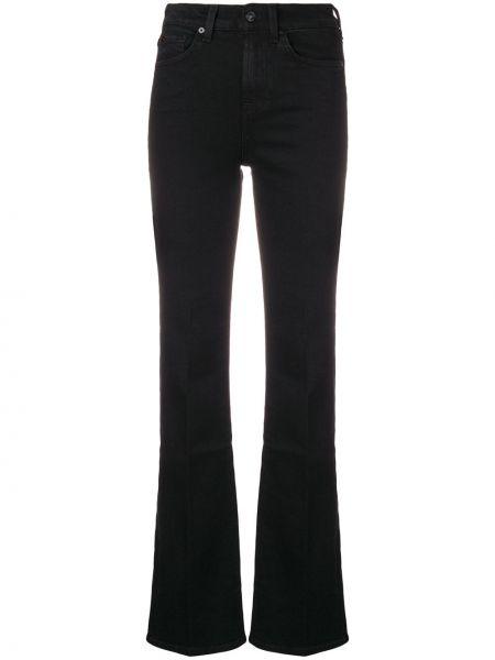 Расклешенные хлопковые черные расклешенные джинсы на пуговицах 7 For All Mankind