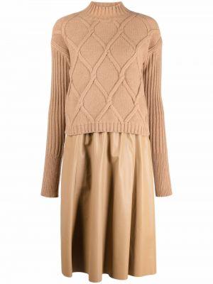 Платье макси с длинными рукавами - коричневое Drome