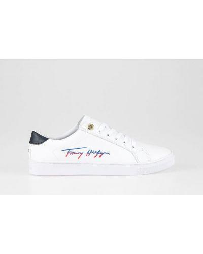 Białe tenisówki sznurowane na co dzień Tommy Hilfiger