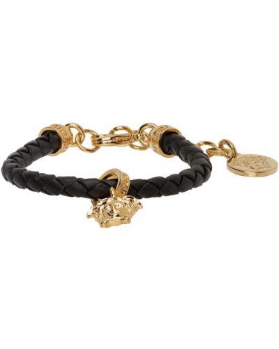 Кожаный золотой браслет золотой для полных Versace