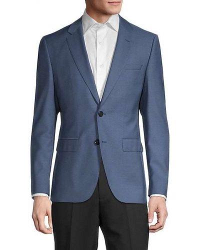Niebieska długa kurtka wełniana z długimi rękawami Hugo Hugo Boss